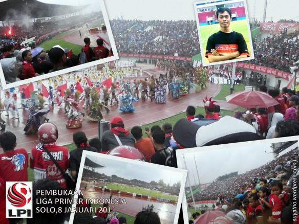 Suasana Pembukaan Liga Primer Indonesia di Stadion Manahan Solo, 8 Januari 2011