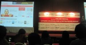 Mbak Ollie, pendiri Nulisbuku.com saat menyampaikan kiat bisnis online