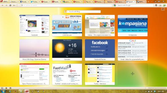 Tampilan antar muka Speed Dial Opera Mini; Browser jadi makin mudah kan !